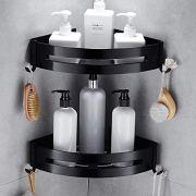 Orchilld Bathroom Shelves - Nail Free Space Aluminum Black Bathroom