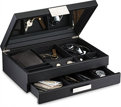 Glenor Co Mens Valet/Dresser Organizer - Luxury 12 Slot Jewelry Accessories Box