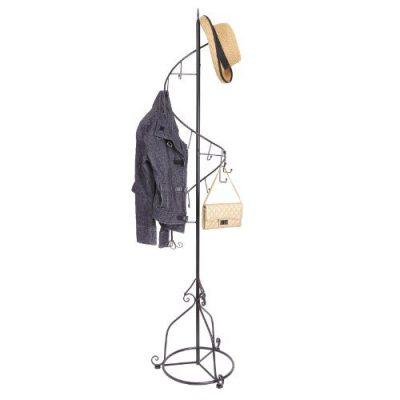 MyGift Elegant Black Metal 14 Hook Spiral Coat Hanger