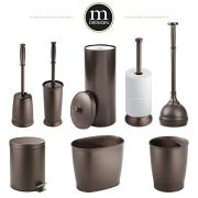 mDesign Modern Plastic Bathroom Storage and Cleaning Accessory Set