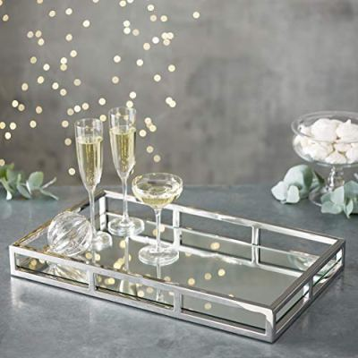 Le'raze Mirrored Vanity Tray, Decorative Tray with Chrome Rails for Display