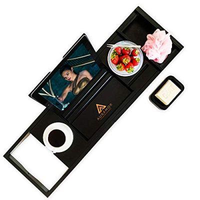 Auramor Bamboo Bathtub Tray Caddy w/Hair Turban (Black) Wide