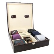 Decorebay Handcrafted Crocodile Leather Tie Box and Cufflink Storage Box