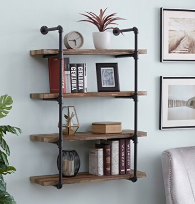 Homissue 4-Shelf Rustic Pipe Shelving Unit, Metal Decorative Accent Wall