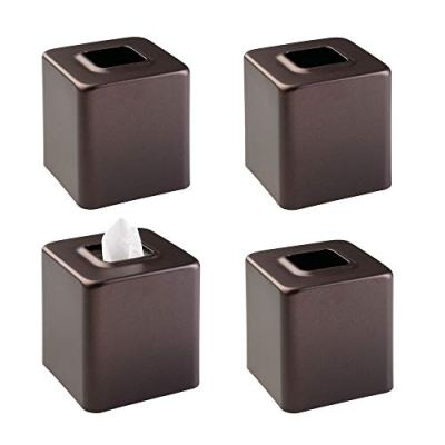 mDesign Modern Square Metal Paper Facial Tissue Box Cover Holder