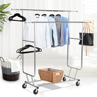 Topeakmart Commercial Grade Adjustable Double-Rail Clothing Hanging Rack