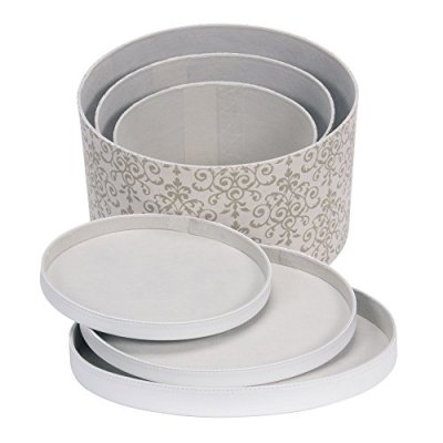 Household Essentials 3-Piece Hat Box Set with Faux Leather Lids