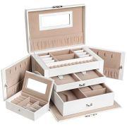 SONGMICS Jewelry Box, Girls Jewelry Organizer, Mirrored Mini Travel Case