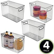 mDesign Slim Plastic Storage Container Bin Box with Carrying Handles