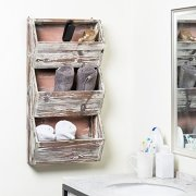 MyGift 3 Tier 30 inches Rustic Torched Wood Wall Mounted Storage Organizer