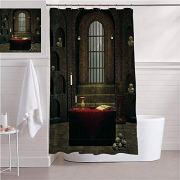 SATVSHOP Easy Care Fabric Shower Curtain with Reinforced Buttonholes-Gothic