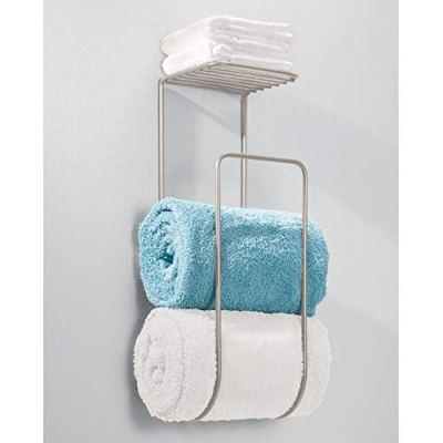 mDesign Modern Metal Wall Mount Towel Rack Holder and Organizer