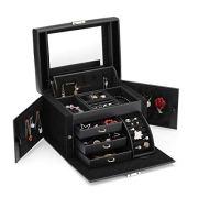 Vlando Lockable Jewelry Box Organizers w/Key - Small Travel Earrings/Rings Box