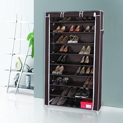 SONGMICS 10 Tiers Shoe Rack with Dustproof Cover Closet Shoe Storage