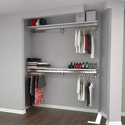 "Arrange A Space Premium 52"" Top and Bottom Shelf/Hang Rod Kits White Closet"
