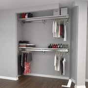 "Arrange A Space Premium 52"" Top and Bottom Shelf/Hang Rod Kits White Closet"