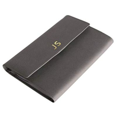 Monogrammed Saffiano Leather Travel Jewelry Case