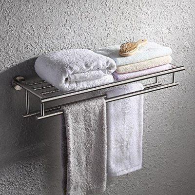 KES Large Towel Rack, Towel Shelf with Two Bar