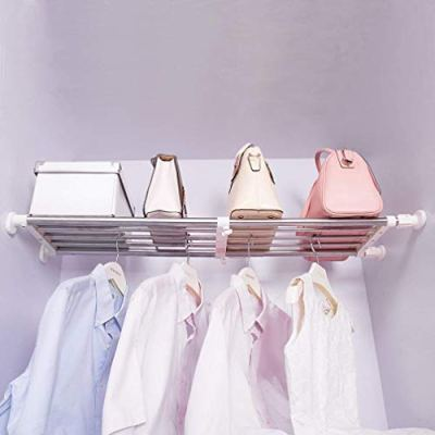 Hershii Tension Shelf Expandable Rod Closet System Heavy Duty Clothes