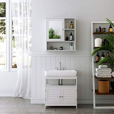 VASAGLE Mirror Cabinet, Medicine Cabinet with Adjustable Shelf