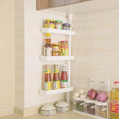 White Gap Storage Shelf For Kitchen Storage Skating Movable Plastic