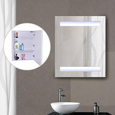 "HOMCOM Vertical 32"" LED Illuminated Bathroom Wall Mirror Medicine Cabinet"