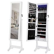 SONGMICS 6 LEDs Jewelry Cabinet Lockable Standing Mirrored Jewelry