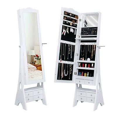 Yokstore Jewelry Cabinet Organizer LED Mirrored Jewelry Storage Armoire