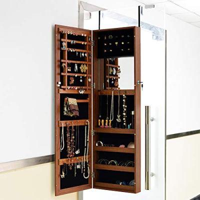 Organizedlife Oak Mirrored Jewelry Cabinet Case