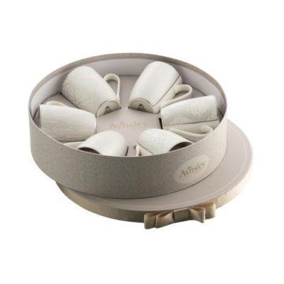 Aynsley Silver Brocade 6 Mugs in Hat Box