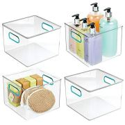 mDesign Plastic Storage Bin with Handles for Organizing Hand Soaps