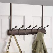 mDesign Decorative Over Door Long Easy Reach 12 Hook Metal Storage