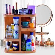 Refine Bamboo Cosmetic Organizer, Multi-Function Storage Carousel