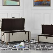 Sofamania 2-Piece Classic Tufted Linen Fabric Storage Chests