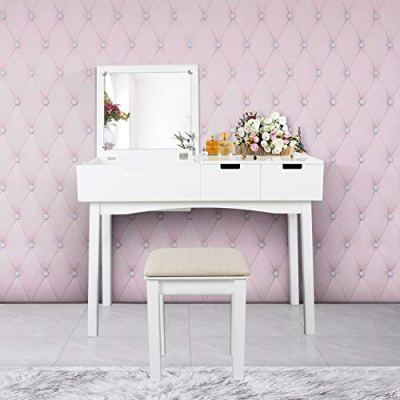 Vanity Set with Dressing Table Flip Top Mirror Organizer Cushioned Stool