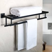 Alise Bathroom Lavatory Towel Rack Towel Shelf with Two Towel Bars