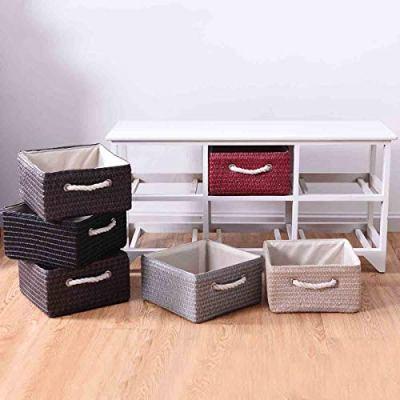 WATERJOY Wooden Basket Storage Chest, Wooden Storage Shelves