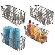 mDesign Bathroom Metal Wire Storage Organizer Bin Basket Holder