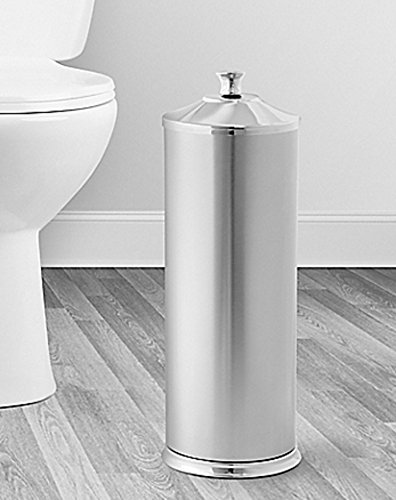 Toilet Paper Reserve Holder with Lid in Two-Tone Nickel