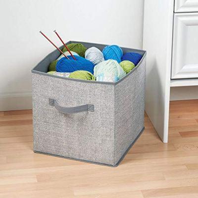 mDesign Soft Fabric Closet Storage Organizer Bin Box - Front Handle