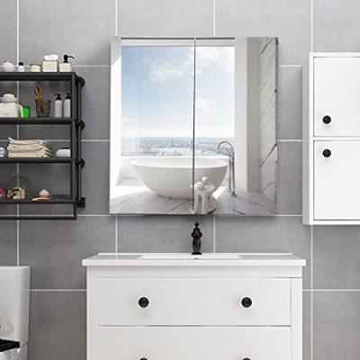 Mirror Cabinet, WATERJOY Wall-Mounted Bathroom Mirror Medicine Cabinet