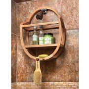 Natural Teak Oval Shower and Bathroom Organizer Caddie