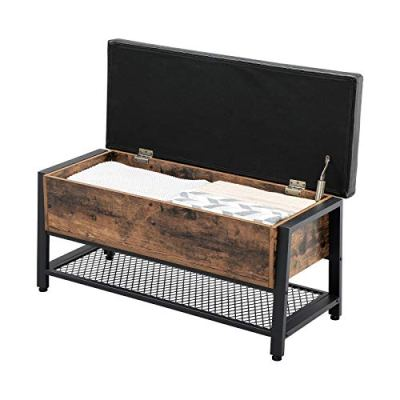 VASAGLE Industrial Storage Bench, Shoe Bench with Padded Seat