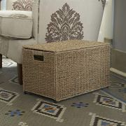Household Essentials Decorative Wicker Chest with Lid for Storage