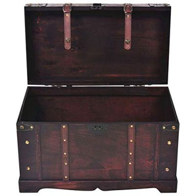 BLUECC Vintage Wood Treasure Chest Storage Trunk Brown