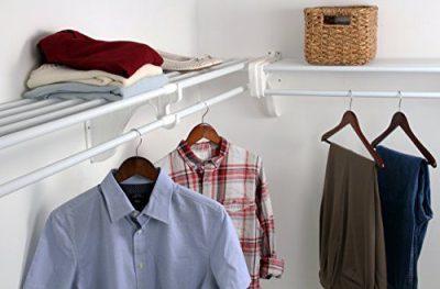 EZ Shelf - DIY Closet Organizer Kit - Expandable to 12.2 ft. of Hanging & Shelf