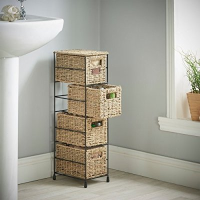 VonHaus 4 Tier Small Seagrass Basket Storage Tower Unit