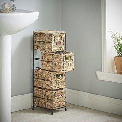 VonHaus 4 Tier Small Seagrass Basket Storage Tower Unit