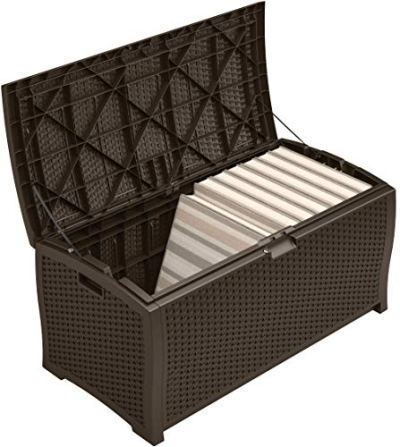 Suncast 99 Gallon Resin Wicker Patio Storage Box - Waterproof Outdoor Storage