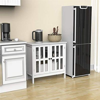 Yaheetech Sideboard Buffet Storage Cabinet with Glass Door